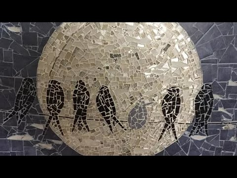 Glass Mosaic Art - Seven by the Moon