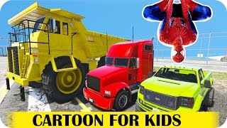 Spiderman Cartoon Policeman party with Big Monster Dump Truck l Nursery Rhymes Children Songs