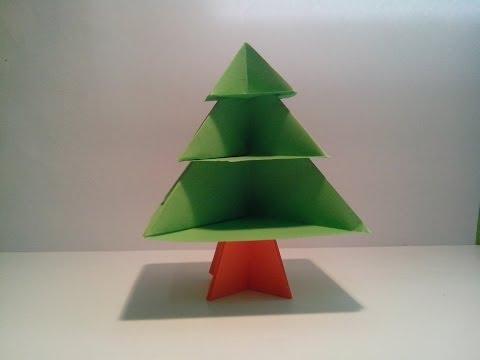 Como hacer un árbol de papel sin pegamento (decoración navideña ...
