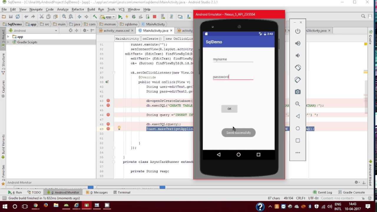 Insert Data into Sqlite Database Using Android Application