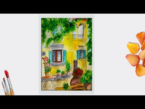 Watercolor Painting For Beginners Step By Step | How To Paint House In Watercolor, Easy Gardenscape