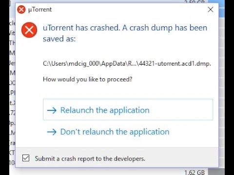 Solved:utorrent Has Crashed A Crash Dump Has Been Saved