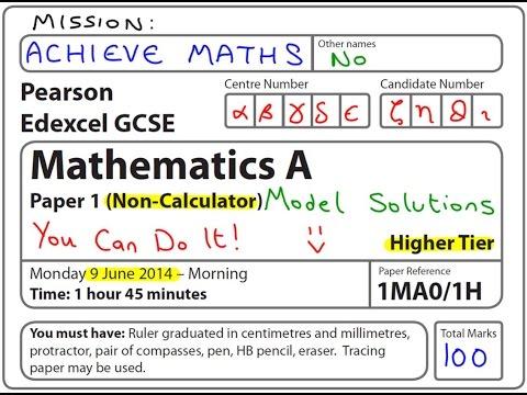 GCSE Maths Edexcel June 2014 1H Higher Non-Calculator (complete paper)