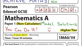 GCSE Maths Edexcel June 2014 1H Higher Non-Calculator (complete paper)
