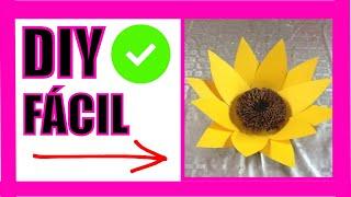 Girasol hecho  en cartulina Flor 6  Sunflower made with cardboard