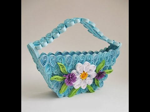 Diy delicate quilling basket handmade crafts ideas youtube for New handmade craft ideas
