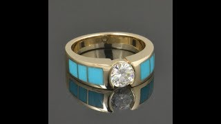 Turquoise Engagement Ring with Moissanite in 14k Yellow Gold