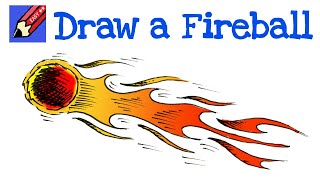 How to Draw a Flaming Fireball Meteor Real Easy for kids and beginners