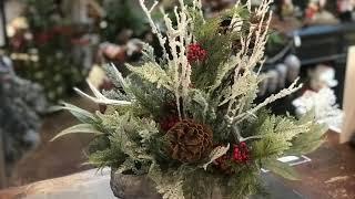 DIY Flocked Cedar & Red Berry Floral Design
