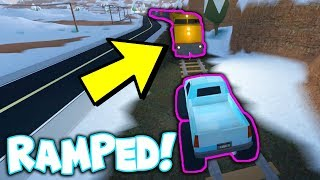 RAMPING THE TRAIN WITH THE MONSTER TRUCK!!! *Roblox Jailbreak Winter Update*