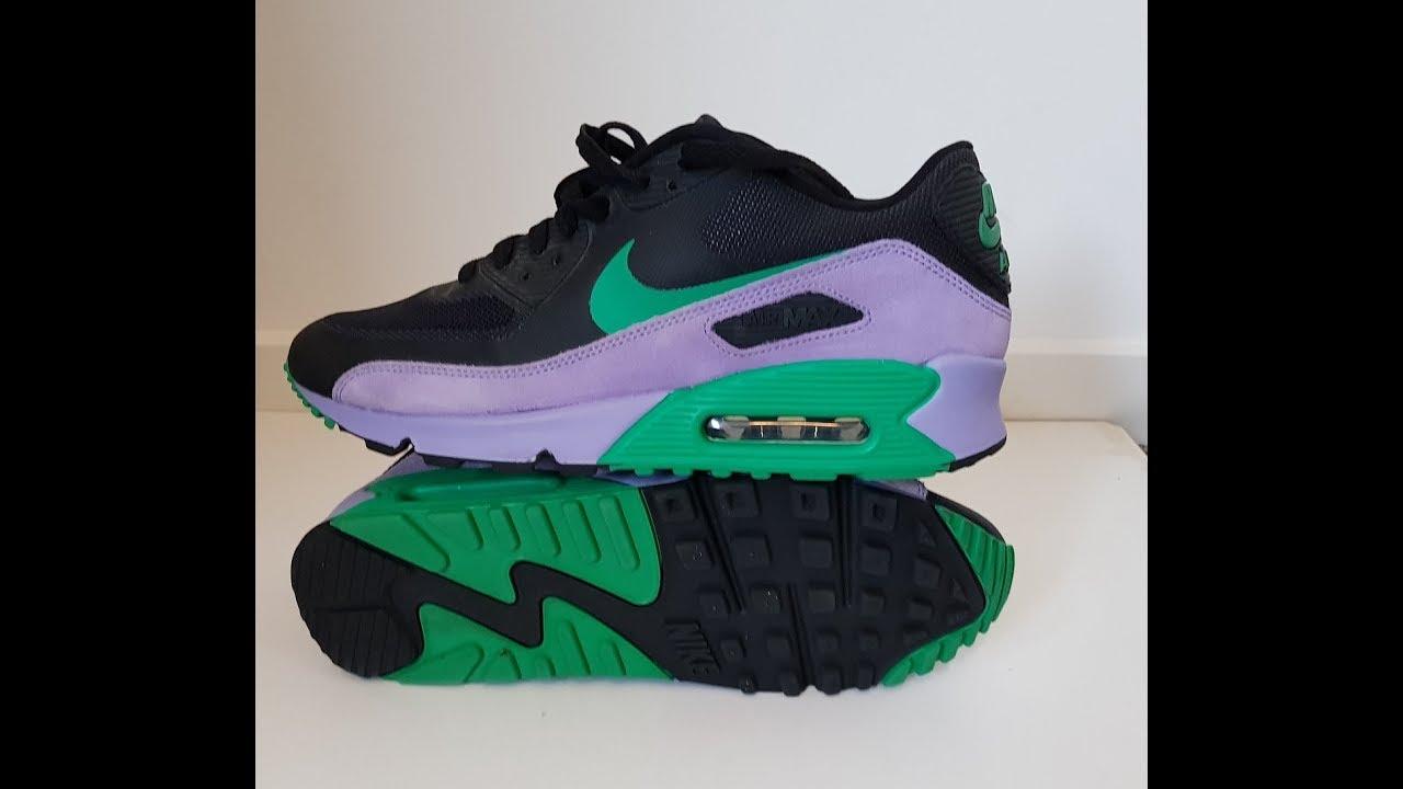 unboxing unpacking Nike Air Max 90 Premium Black Stadium Green Violet code 532470 035