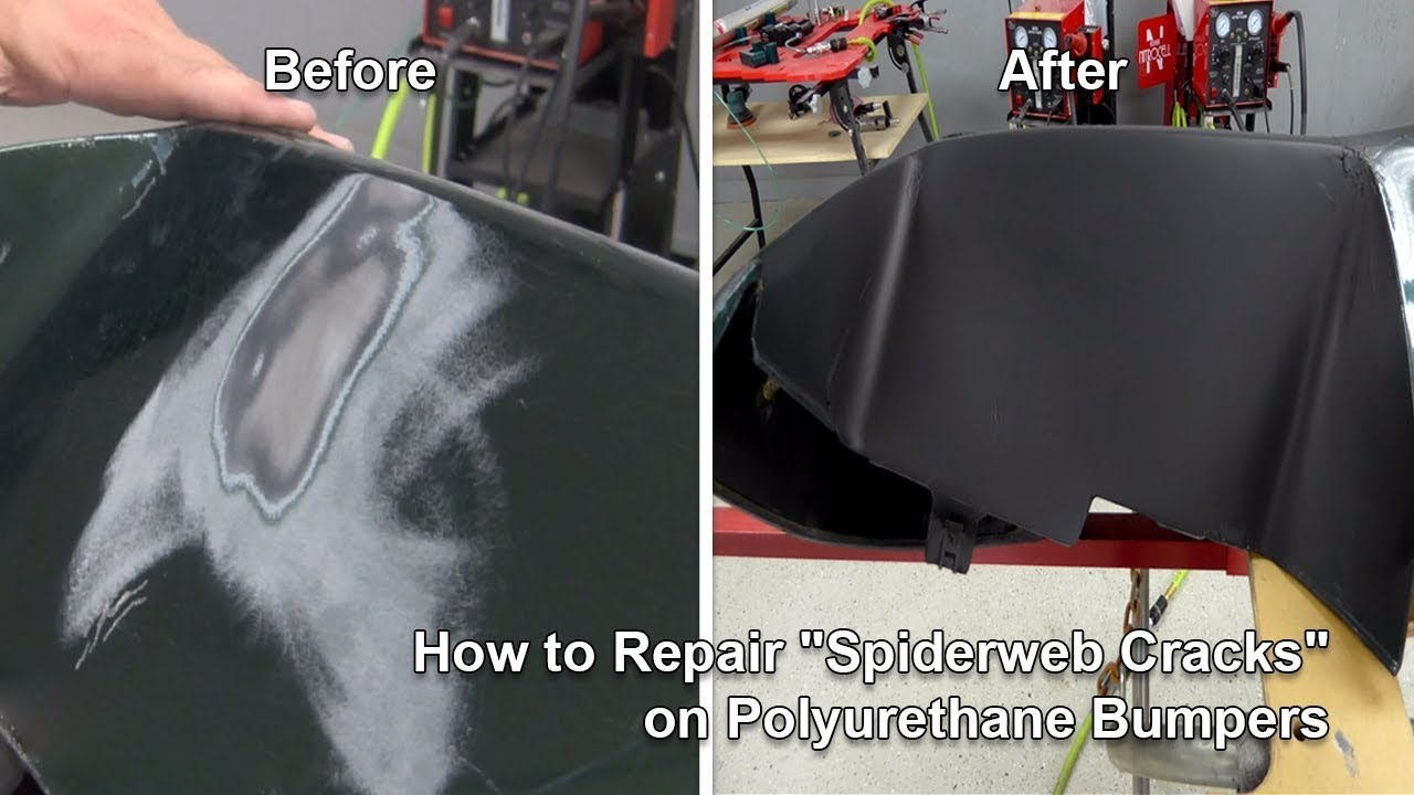 How to repair spiderweb cracks on polyurethane bumpers