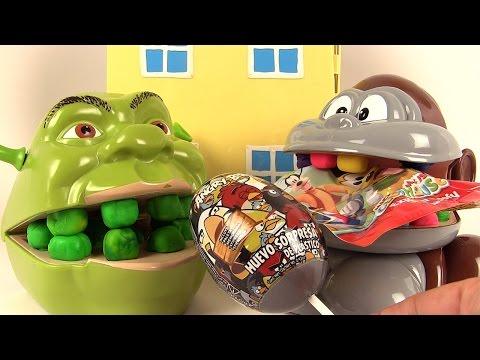 Play Doh Dentiste Shrek mange des œufs surprises avec le singe