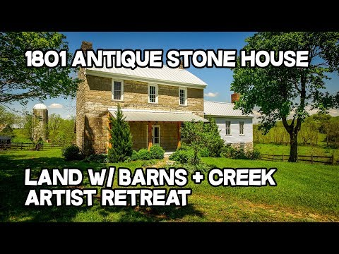 Artist Retreat, Wake Robin - 1801 Stone house, 18 ac, creek,  old stone houses for sale in Kentucky