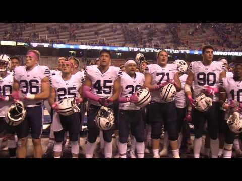 BYU players sing fight song to Cougar fans after Boise State game