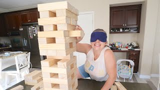 BLINDFOLDED JENGA! Loser Gets NO Sleep!
