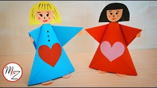 Paper doll making tutorial | Paper crafts for kids DIY | Easy origami for kids | Maison Zizou