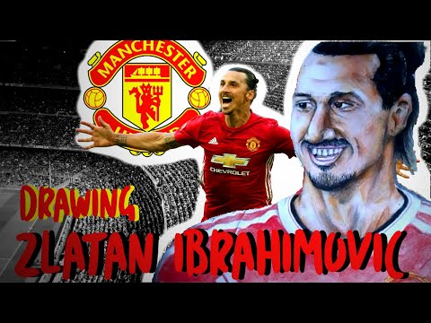 Drawing Zlatan Ibrahimovic in Manchester United (and its logo) Color pencils & Pastels