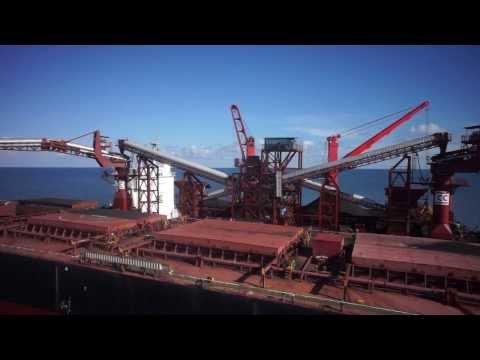 DJI S 800 offshore aerial vessel coal transfer documentation in East Kalimantan, Indonesia