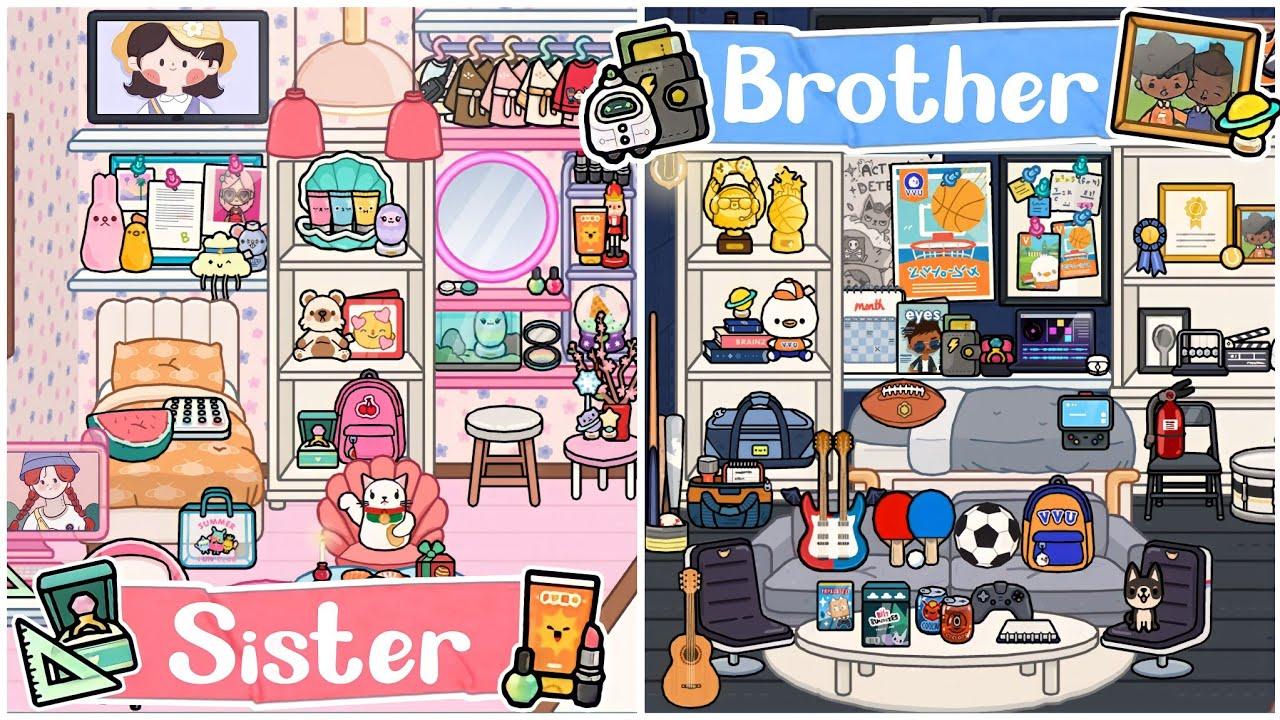 TOCA LIFE WORLD : SISTER VS BROTHER BEDROOM DESIGN💅🏻🏀   TOCA BOCA