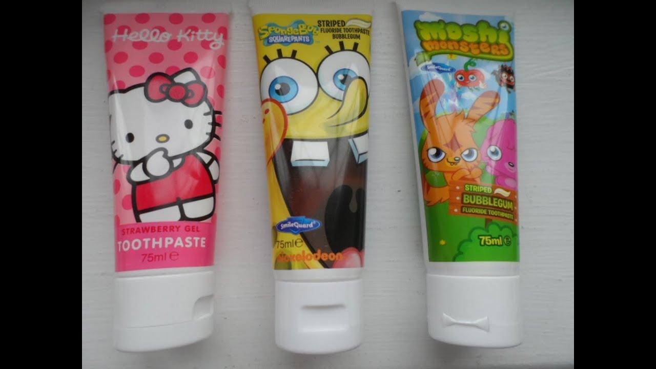 1290760a3 3 x MOSHI MONSTERS, HELLO KITTY and SPONGBOB SQUAREPANTS Striped Bubblegum  Fluoride Toothpaste