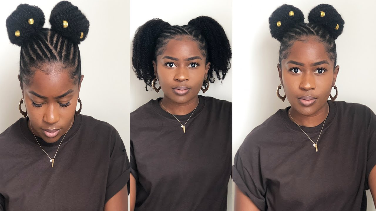 Easy Braided Ponytail Styles on Short 4C Natural Hair!!!Back to School Styles!!CurlsCurls|Mona B ...