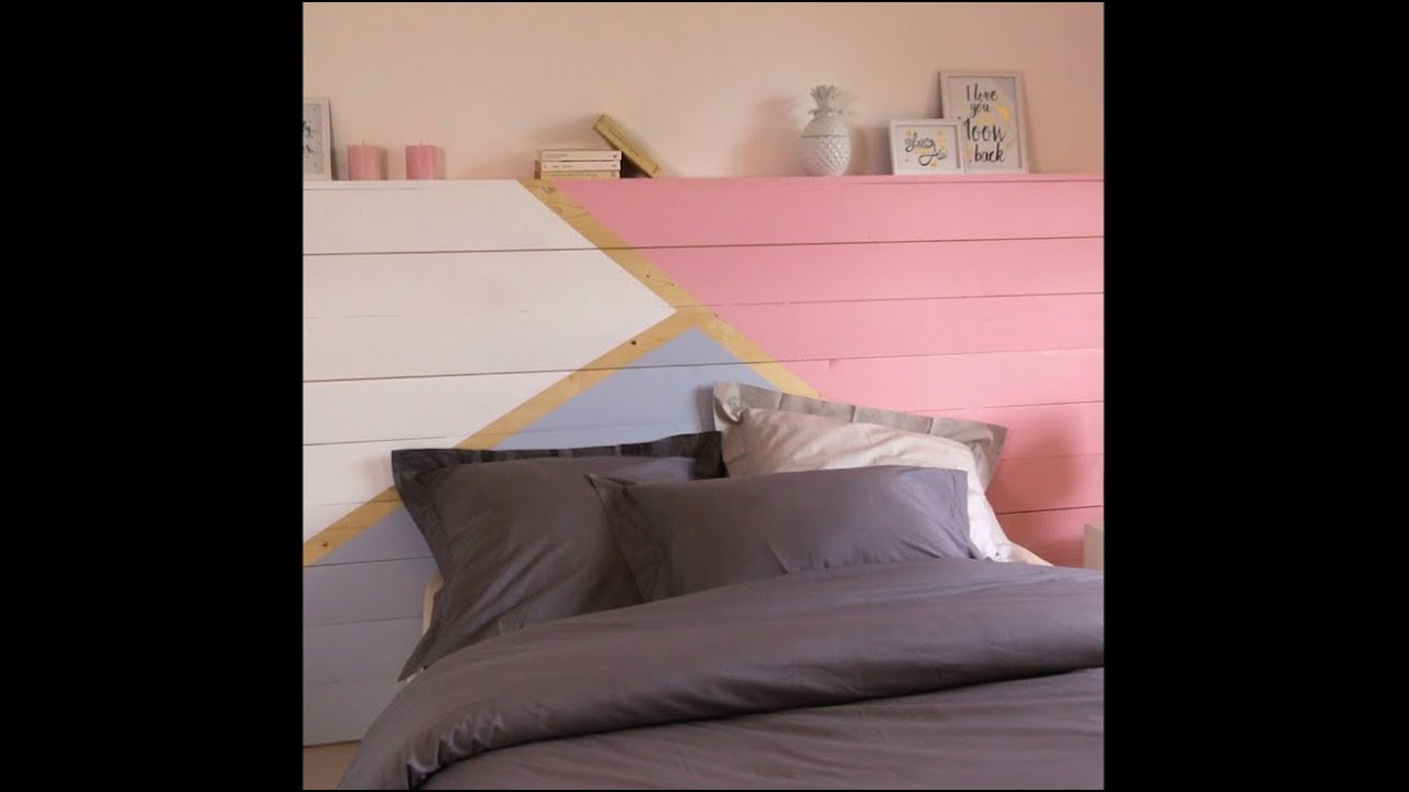 fabriquer une t te de lit design diy youtube. Black Bedroom Furniture Sets. Home Design Ideas