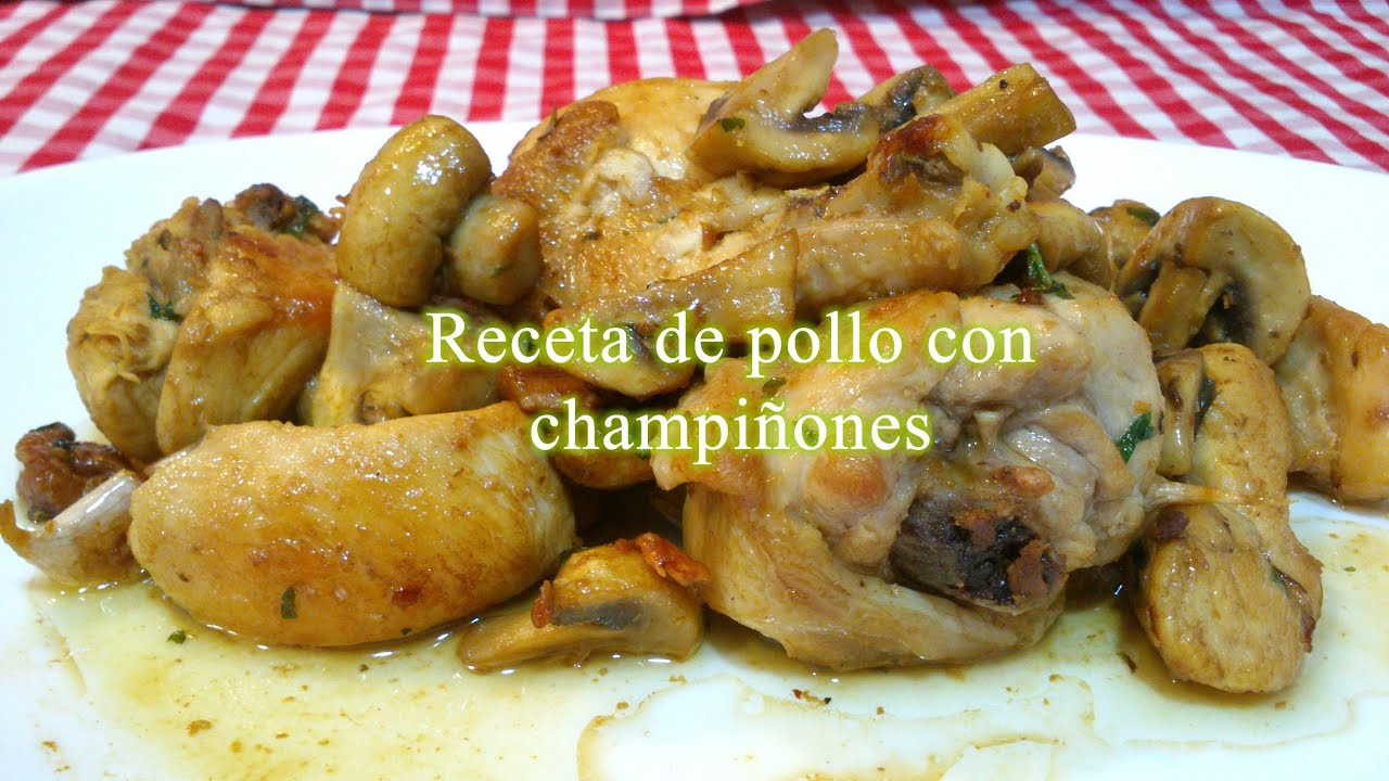 como preparar pollo con champinones