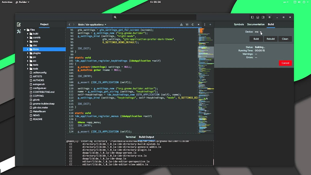 Building Gnome Builder from Gnome Builder | GNOME 3 20 devel preview