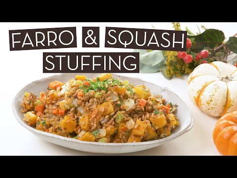 Tasty Vegan Farro & Butternut Squash Stuffing}