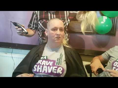 Amanda Lewis doing the Brave the shave.