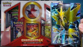 Pokemon Cards - BEST EARLY Charizard EX Red and Blue Collection Box! AMAZING PULLS!