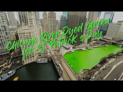 Chicago River Dyed Green - 2018 4K Time Lapse