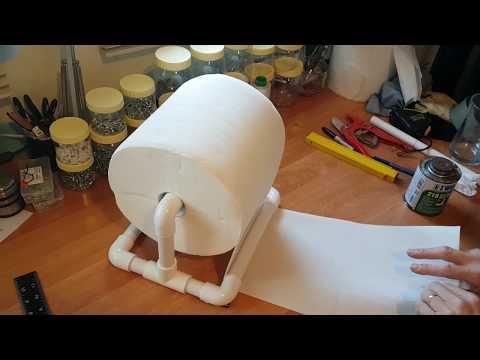 PVC pipes DIY - paper roll holder Kingsize for table