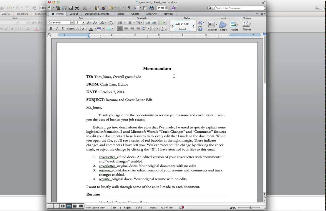 writing a goodwill client memo  for editors