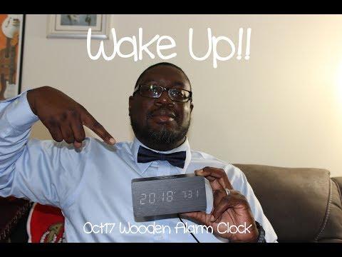 Oct17 Wooden Alarm Clock w/ wireless Qi charging.