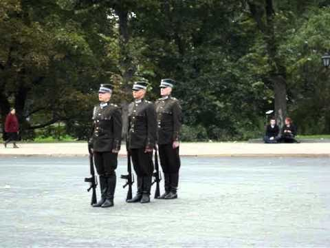LATVIA....CHANGING OF THE HONOUR GUARD AT THE FREEDOM MONUMENT IN RIGA.