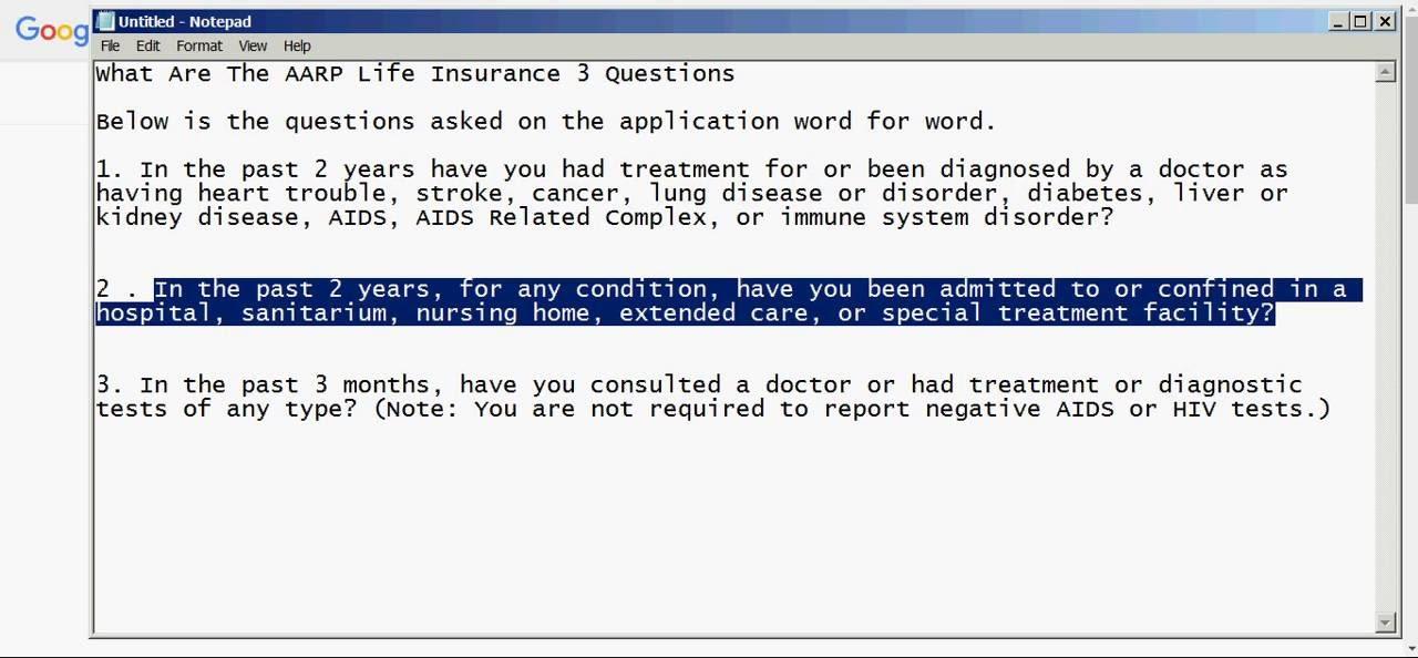 AARP Life Insurance 3 Medical Questions