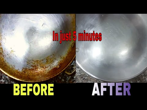 How to clean Aluminium Kadai | Remove stains and greese | Clean kitchen utensils