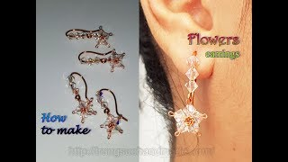 Flower earrings with sparkling crystals - How to make jewelry  from copper wire 443