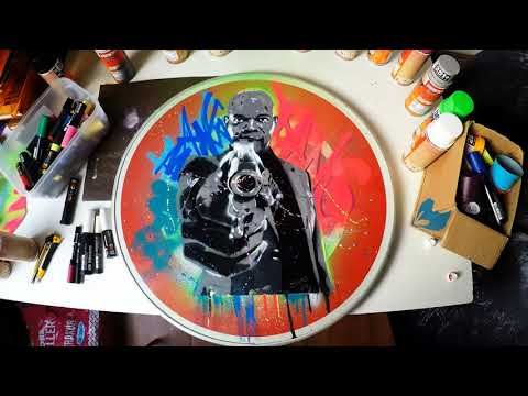 AMAZING SPRAY PAINTING (Art 3d pictures) Street Performers Samuel Jackson