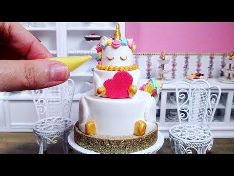 Miniature Edible Unicorn Cake for Valentines Day - Mini Food ASMR