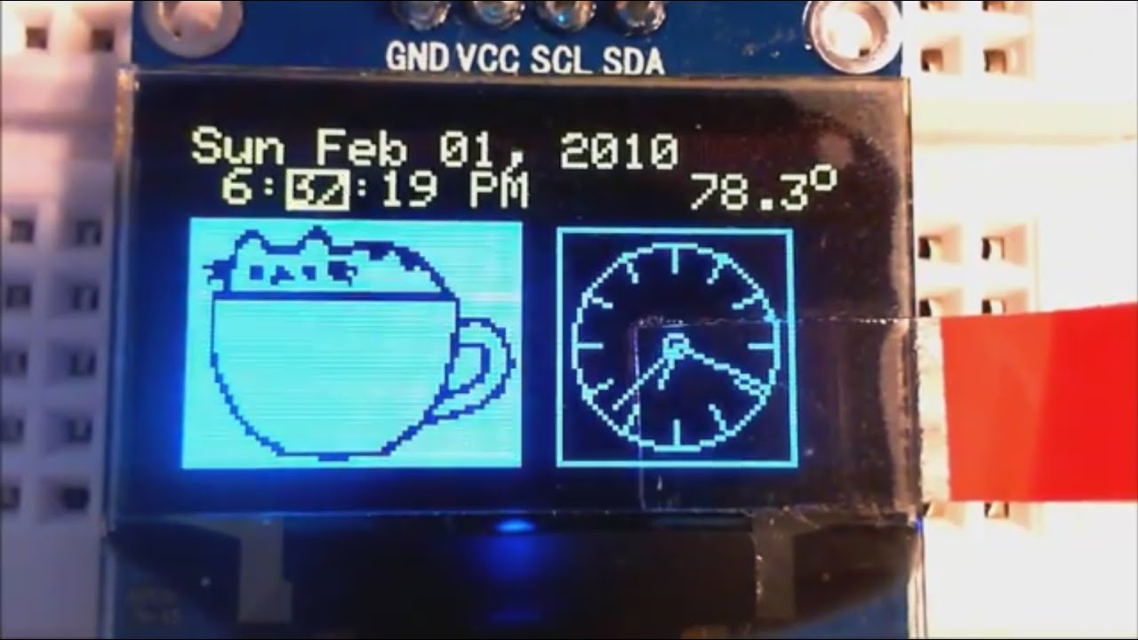 DS3231 OLED Alarm Clock With 2-button Menu Setting and Temperature
