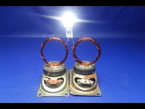 Free Energy  Generator Homemade With 2 Speaker Use Light Bulb - New i deas 2018
