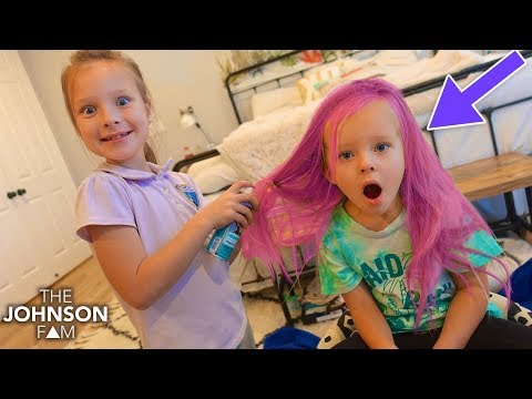 Sister Sprays Her HAIR a CRAZY COLOR!!! Fun Hairstyle