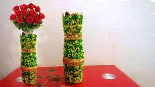 Making Paper Flower Vase - How to Make A Flower Vase At Home - DIY Paper & Plastic Glass Vase