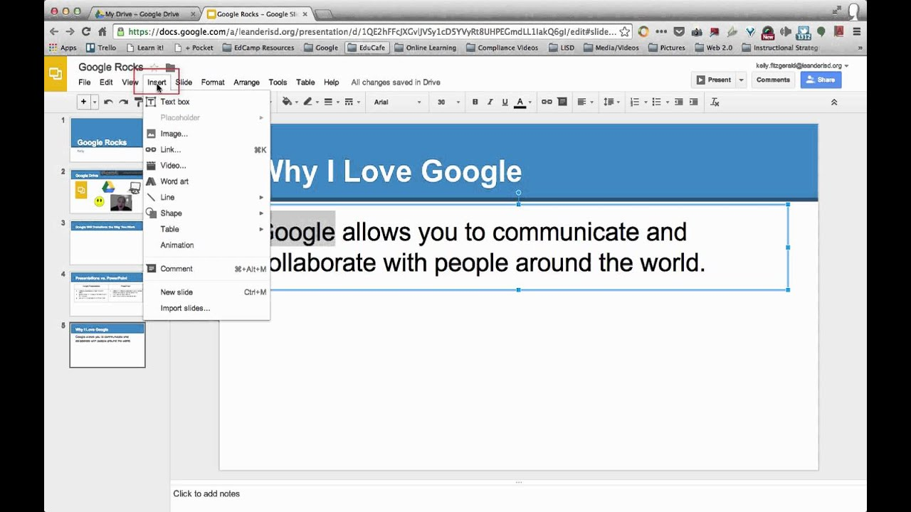 insert a hyperlink google presentations slides youtube