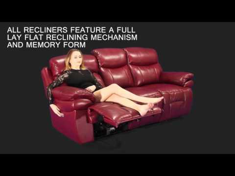 Boston - Comfort Plus Headrest - Top Grain Leather Layflat Reclining Sofa