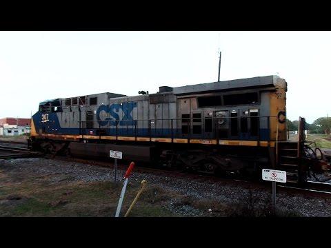 CSX Local Train Crosses Double Diamond Twice Forward And Reverse