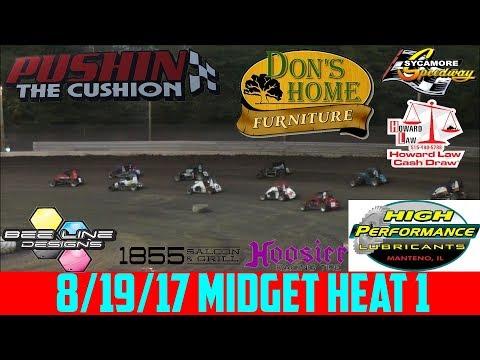 Sycamore Speedway - 8/19/17 - Badger Midgets - Heat 1